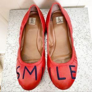 """Ellen Degeneres red """"Smile"""" ballet flats"""